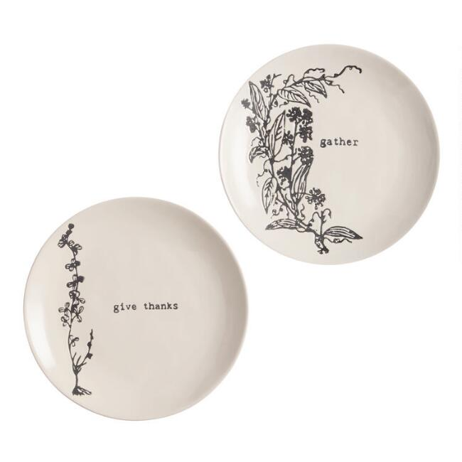 Ivory and Charcoal Wax Resist Sentiment Plates Set of 2
