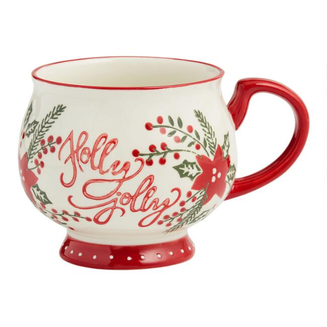 Red White and Green Holly Jolly Mug