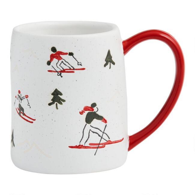 Red and White Speckled Ski Mug