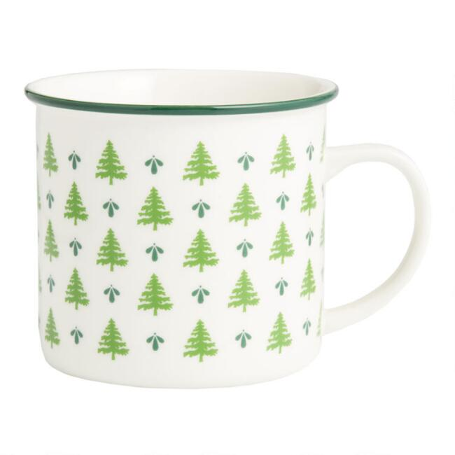 Ivory and Green Mini Trees Mug