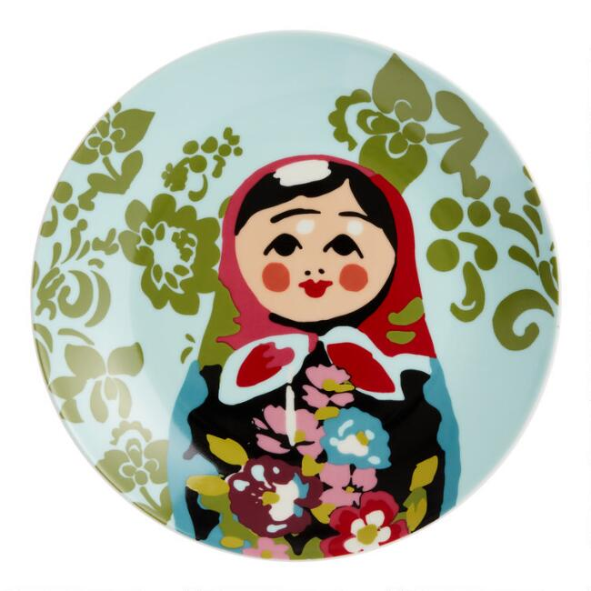 Porcelain Russian Doll Plates Set of 4