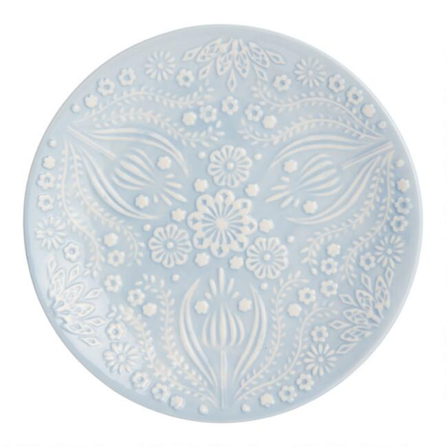 Icy Blue Jolly Hearts Salad Plates Set of 4