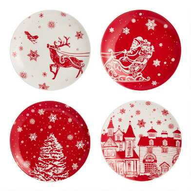 Winter Wonderland Holiday Plates 4 Pack