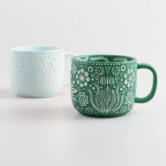 Icy Blue and Dark Green Jolly Hearts Mugs Set of 2