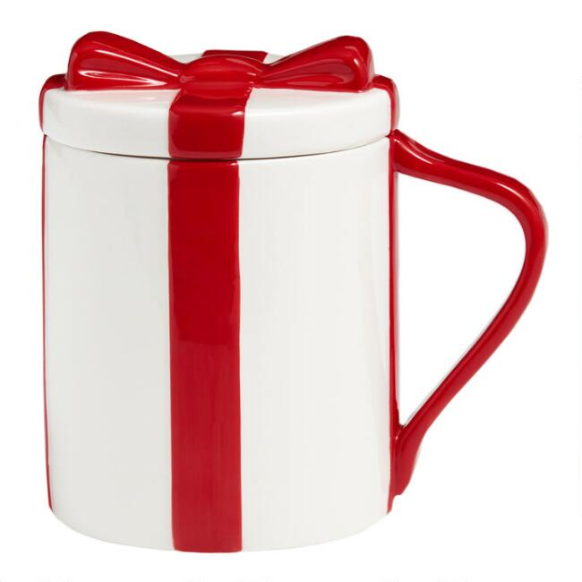 White and Red Gift Mug with Lid