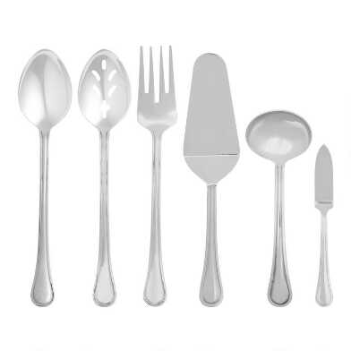 Silver Buffet Serving Utensils 6 Piece Set
