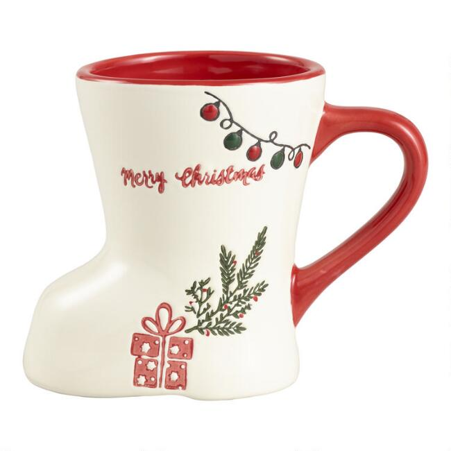 White Merry Christmas Boot Mug