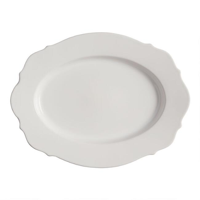 Oval White Baroque Serving Platter