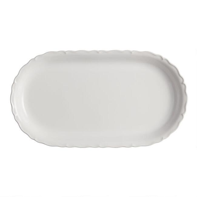 Oval White Scalloped Serving Platter