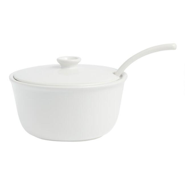 White Meadow Soup Tureen with Ladle