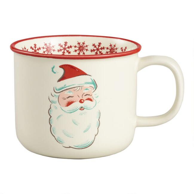 Retro Santa Merry Christmas Mugs Set of 4