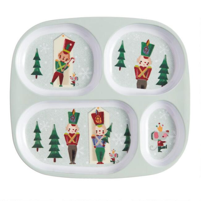Holiday Toy Soldier Melamine Divided Food Tray Set of 2