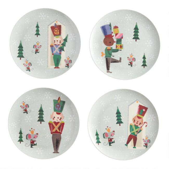 Holiday Toy Soldier Melamine Plates Set of 4