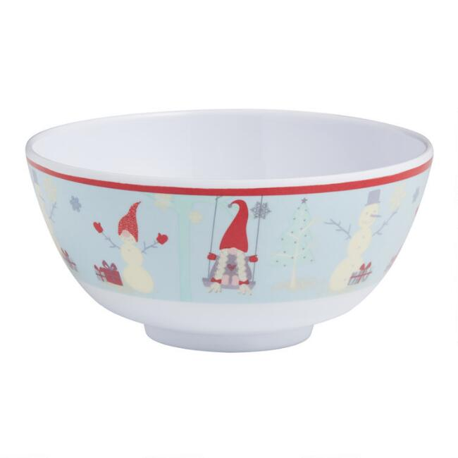 Holiday Gnome Melamine Bowls Set of 4