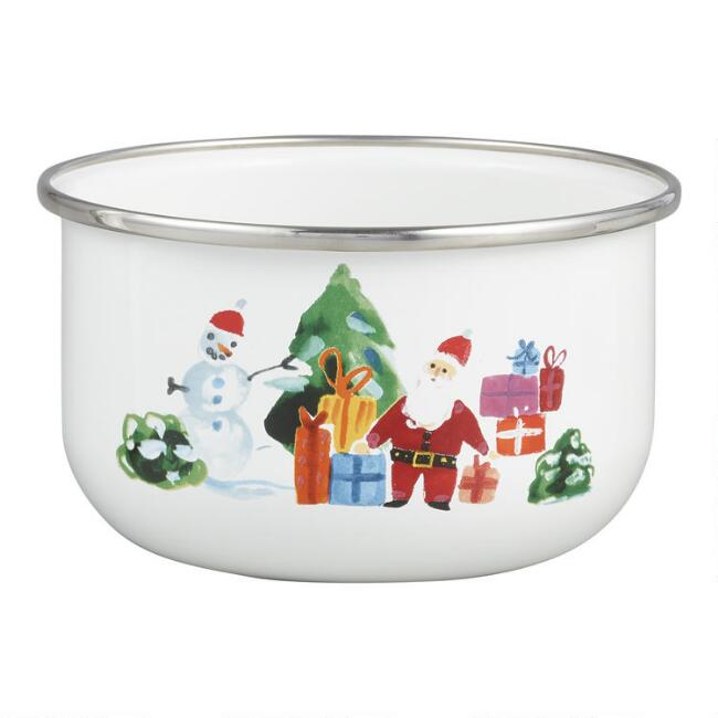 White Christmas Homestead Enamel Bowl Set of 2