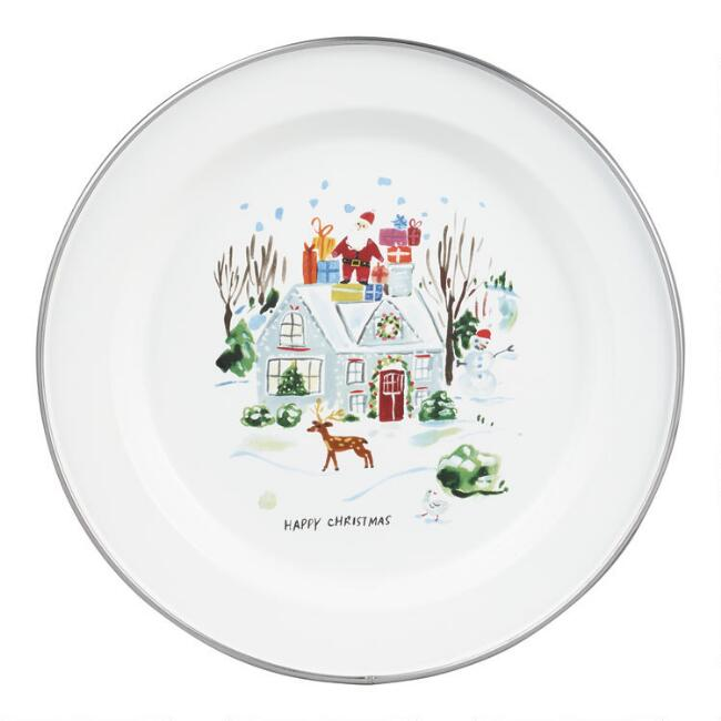 White Christmas Homestead Enamel Plate Set of 2