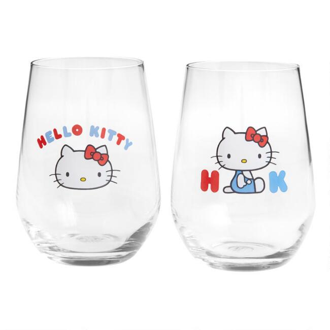 Hello Kitty Stemless Wine Glasses 2 Pack