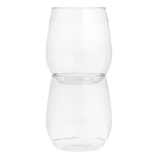 Tossware Disposable Stemless Wine Glasses 12 Pack