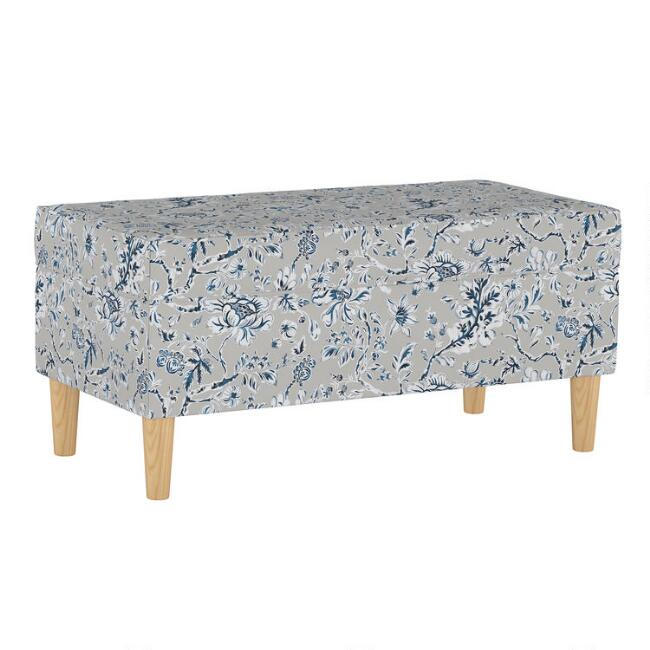 Indian Blockprint Gray Tabitha Upholstered Storage Bench
