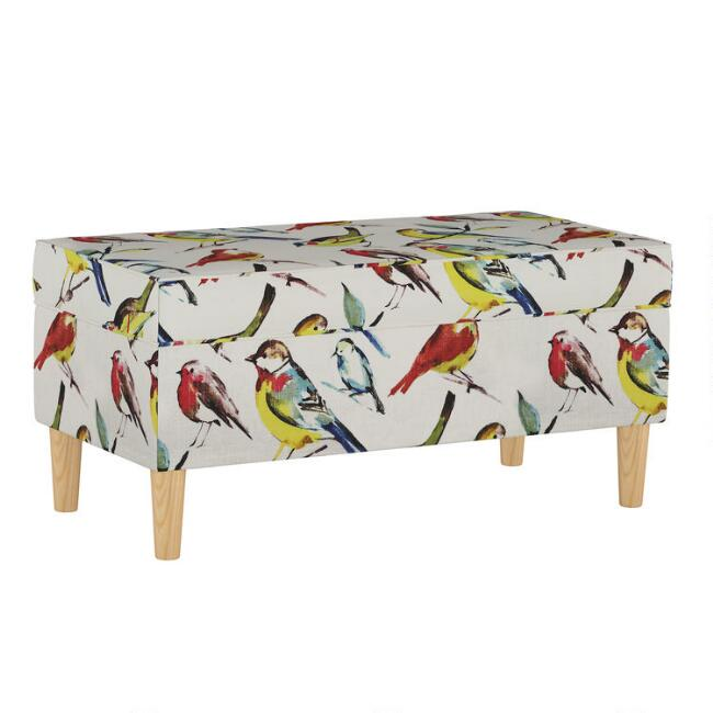 Bird Watcher Tabitha Upholstered Storage Bench