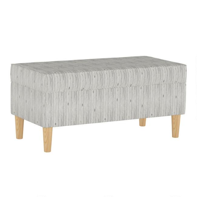 Shibori Stripe Gray Tabitha Upholstered Storage Bench