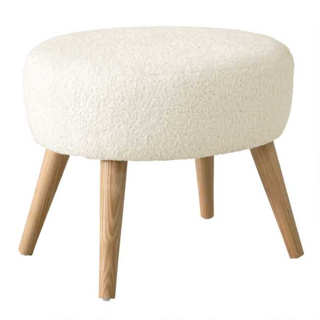 Sensational Faux Sheepskin Natural Nathan Upholstered Ottoman Gmtry Best Dining Table And Chair Ideas Images Gmtryco