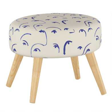 Faces Klein Blue Nathan Upholstered Ottoman