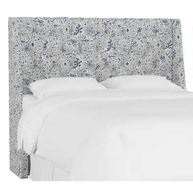Indian Blockprint Gray Kingsley Upholstered Headboard