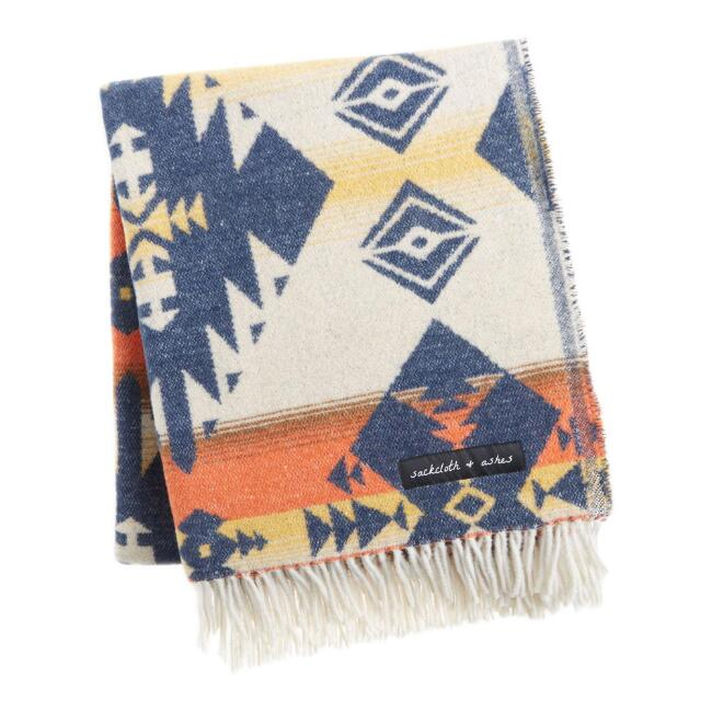 Sackcloth & Ashes Navy and Orange Diamond Throw Blanket