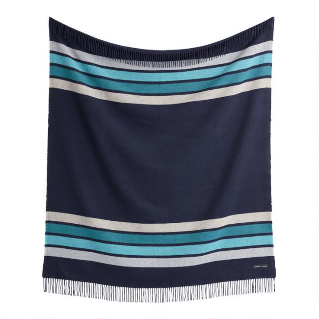 Sackcloth & Ashes Blue and Turquoise Stripe Throw Blanket