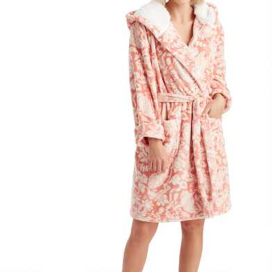 Terracotta Paisley Floral Fleece Robe with Hood