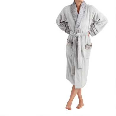 Gray Fleece Robe with Faux Fur Trim