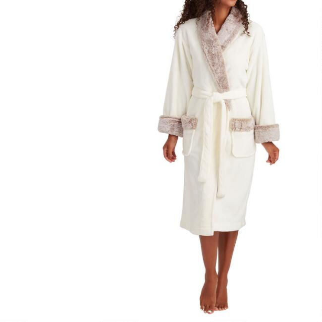 Ivory Fleece Robe with Faux Fur Trim