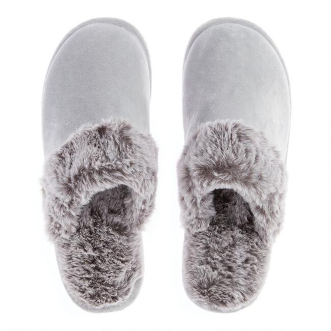 Gray Slippers with Arctic Faux Fur