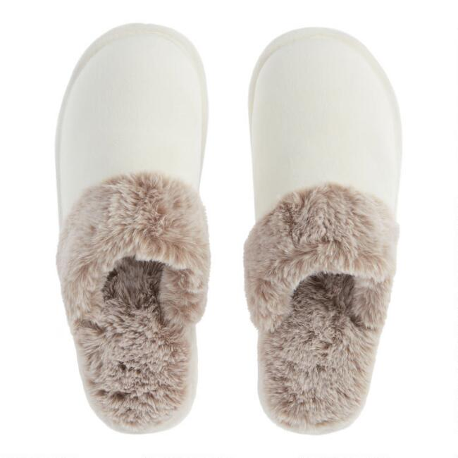 Ivory Slippers with Taupe Faux Fur