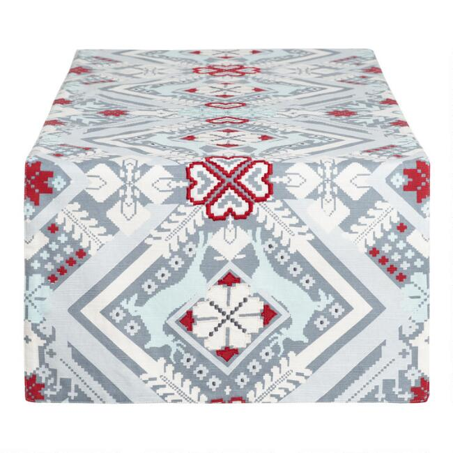Gray, Red and Blue Nordic Ice Table Runner