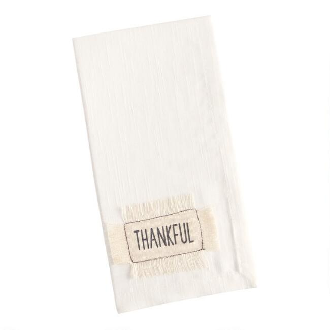 Off White Thankful Applique Napkins Set of 4