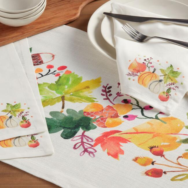 Natural Harvest Print Esther Table Linen Collection