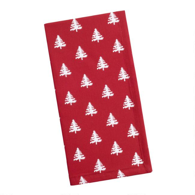 Red and White Tree Napkins Set of 4
