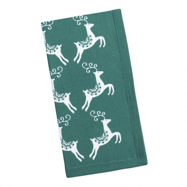 Green and White Reindeer Napkins Set of 4