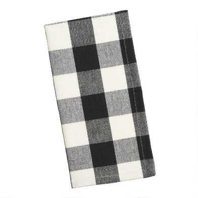 Black and Ivory Buffalo Check Napkins Set of 4