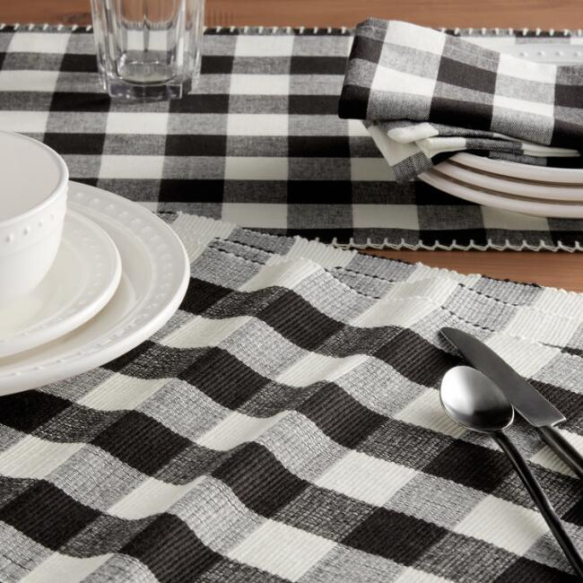 Black and Ivory Buffalo Plaid Table Linen Collection