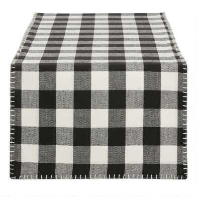 Black and Ivory Buffalo Check Table Runner