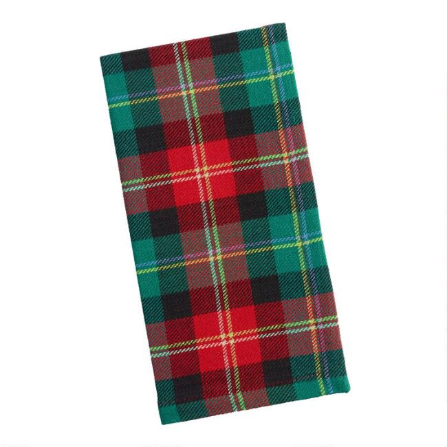Red and Green Holiday Plaid Napkins Set of 4