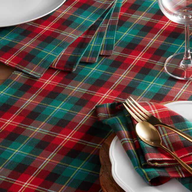 Red and Green Holiday Plaid Table Linen Collection