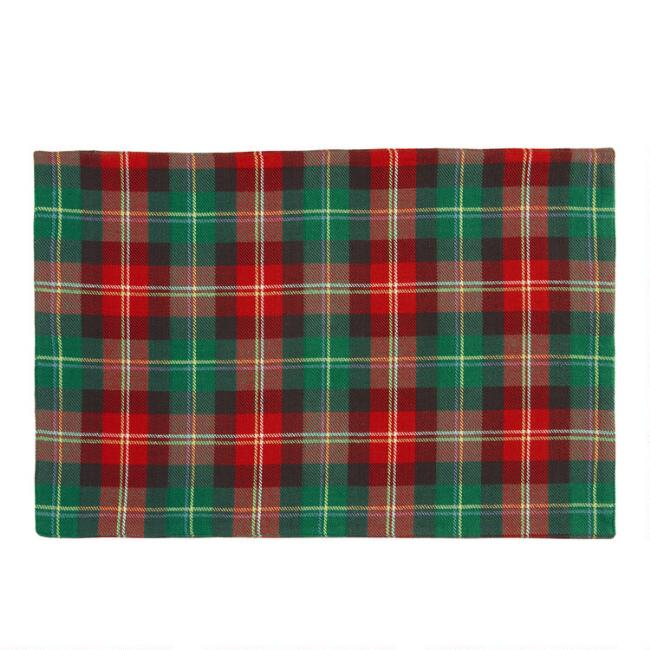 Red and Green Holiday Plaid Placemats Set of 4