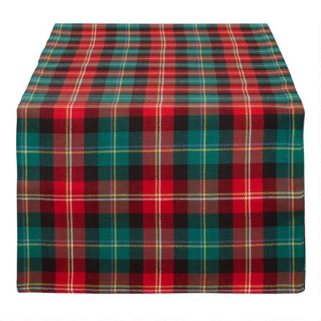 Red and Green Holiday Plaid Table Runner