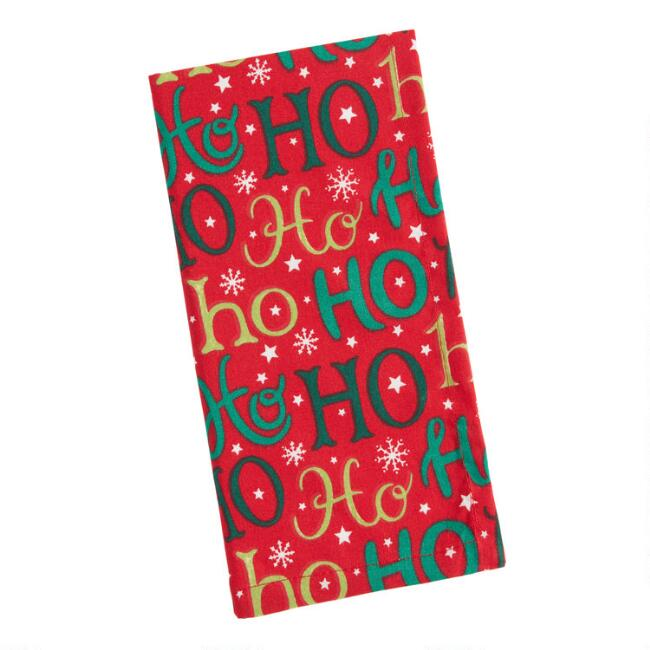 Red Ho Ho Ho Holidays Napkins Set of 4