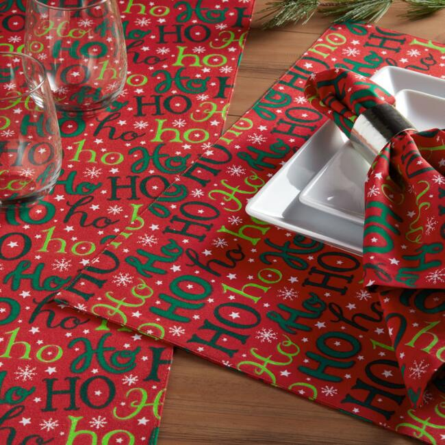 Red Ho Ho Ho Holidays Table Linen Collection
