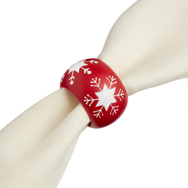 Red and White Snowflake Wood Napkin Rings Set of 4